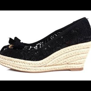 Tory Burch Black Lace Espadrille Wedges